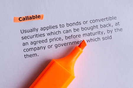 callable word highlighted on the white paper Stock Photo