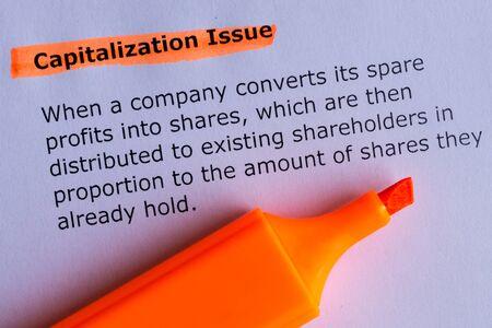 capitalization: capitalization issue