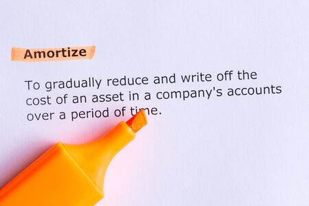 write off: amortize  word highlighted  on the white paper