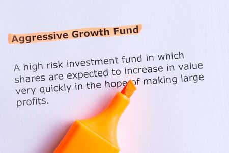 white fund: aggressive growth fund  word highlighted  on the white paper Stock Photo