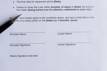 lender: signature page for borrower and lender  on the white paper with pen Stock Photo