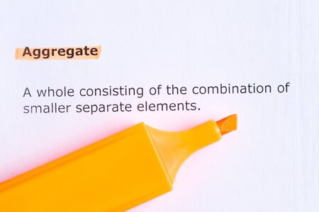 aggregate: aggregate  word highlighted  on the white paper