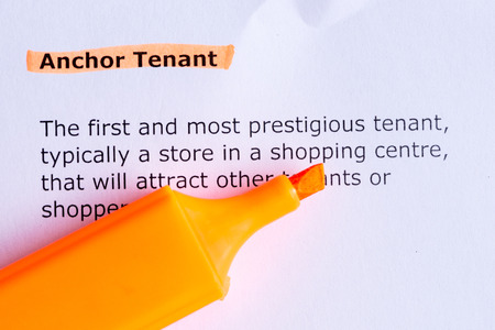 anchor tenant  word highlighted  on the white paper photo
