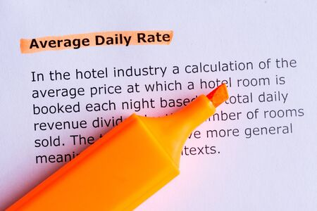 average: average daily rate  word highlighted  on the white paper