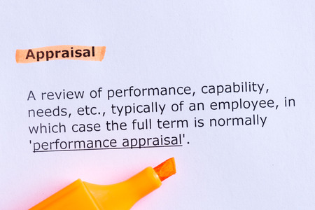 appraisal: appraisal  word highlighted  on the white paper Stock Photo