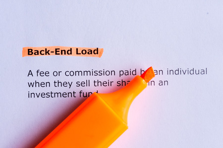 back end load  word highlighted  on the white paper photo