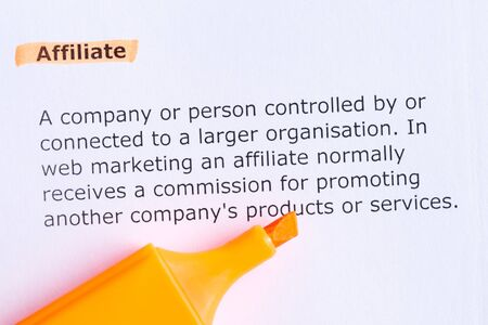affiliate  word highlighted  on the white paper photo