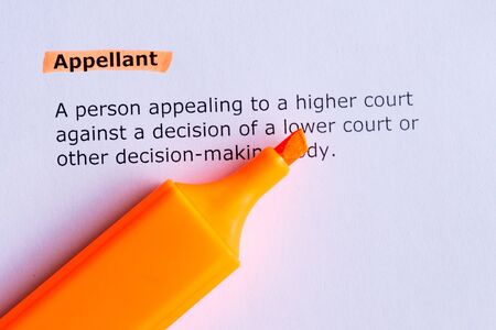 appellant  word highlighted  on the white paper photo