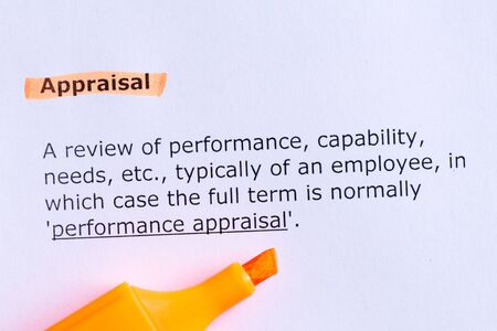 performance appraisal: appraisal  word highlighted  on the white paper Stock Photo