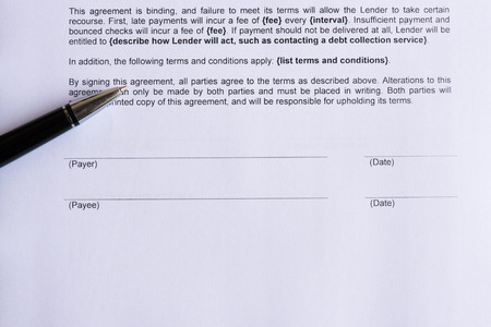 payee: signature page for payee and payer  on the white paper with pen