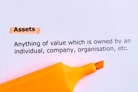 owned: assets  word highlighted  on the white paper