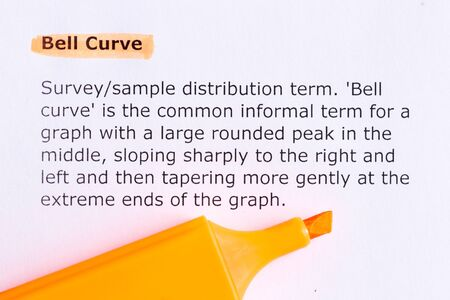 bell curve: bell curve   word highlighted  on the white paper