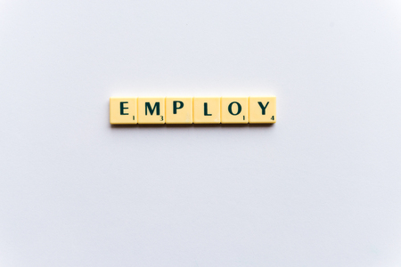 employ: employ  word on the simple  white background Stock Photo