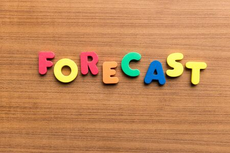 foretell: forecast  colorful word on the wooden background Stock Photo