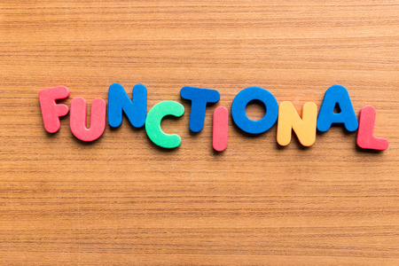 functional  colorful word on the wooden background