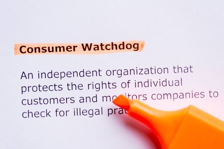 watchdog: consumer watchdog  word highlighted in the white backgound Stock Photo