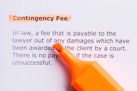 fee: contigency fee  word highlighted in the white backgound