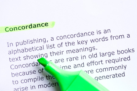 concordance  word highlighted in the white backgound Stock Photo