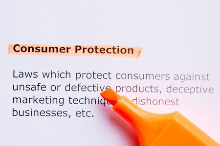 consumer protection: consumer protection  word highlighted in the white backgound
