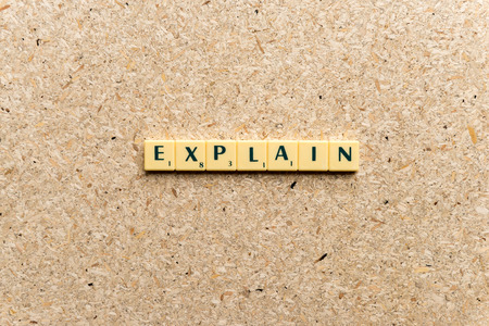 interpret: explain  word on the simple  wooden background Stock Photo
