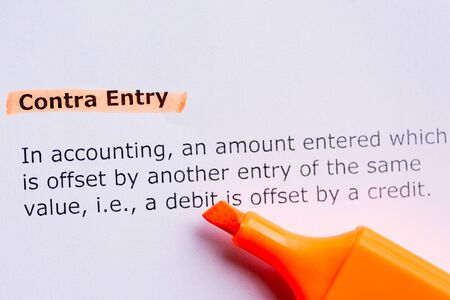 contra: contra entry  word highlighted in the white backgound