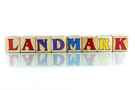 battleground: landmark colorful wooden word block on the white background
