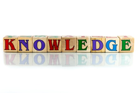 acquaintance: knowledge colorful wooden word block on the white background
