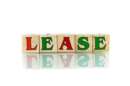 lease: lease colorful wooden word block on the white background