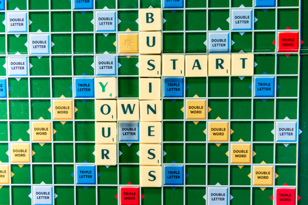 company ownership: June 19, 2015: Dhaka, Bangladesh - your own business start Crossword on the colorful game board Editorial