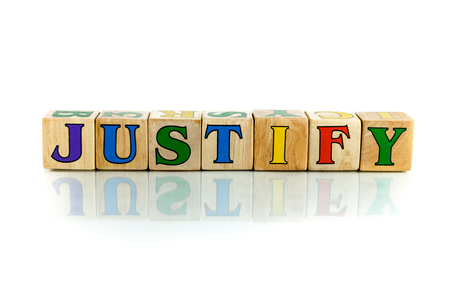 justify colorful wooden word block on the white background