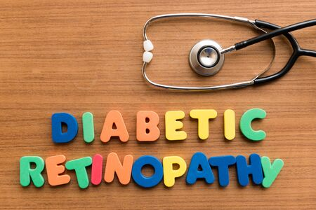 acidosis: diabetic retinopathy  colorful medical word and stethoscope on the wooden background