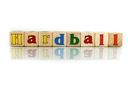 hard ball colorful wooden word block on the white background