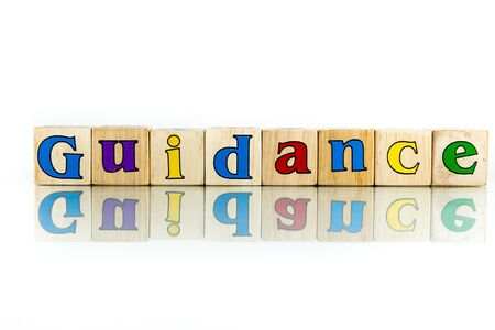 auspices: guidance colorful wooden word block on the white background