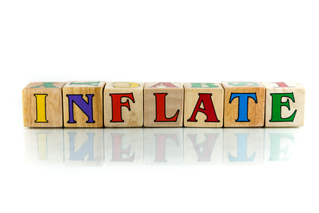 inflate: inflate  colorful wooden word block on the white background