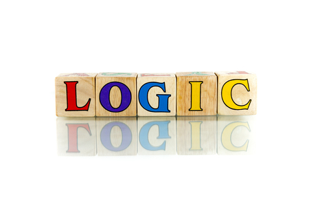 rationale: logic colorful wooden word block on the white background