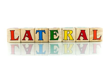 lateral: lateral colorful wooden word block on the white background