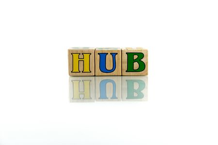 pivot: hub colorful wooden word block on the white background Stock Photo