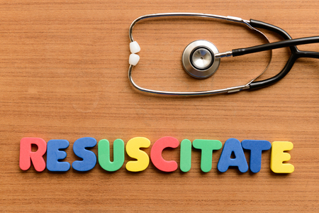 resuscitate: Resuscitate  colorful word on the wooden background