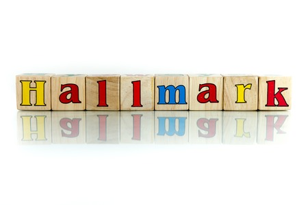 hallmark: hallmark colorful wooden word block on the white background Stock Photo