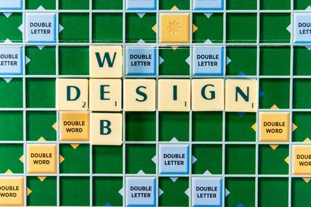 royalty free illustrations: June 19, 2015: Dhaka, Bangladesh - web design Crossword on the colorful game board