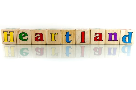 innards: heartland colorful wooden word block on the white background Stock Photo
