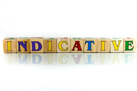 indicative colorful wooden word block on the white background