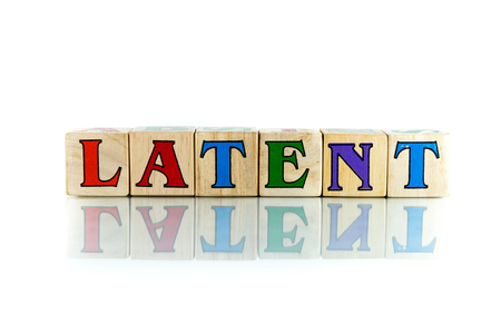 implied: latent colorful wooden word block on the white background