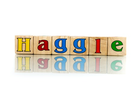 squabble: haggle colorful wooden word block on the white background