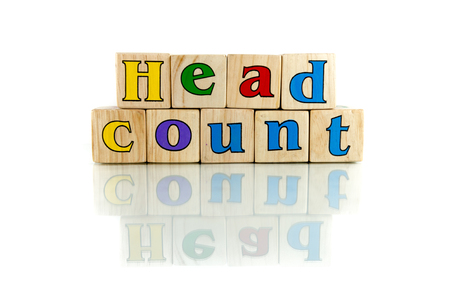 roster: head count colorful wooden word block on the white background Stock Photo