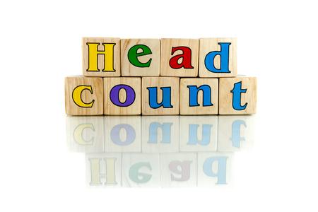 censo: recuento de cabeza colorido bloque palabra de madera sobre el fondo blanco Foto de archivo