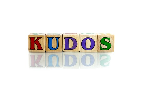eminence: kudos colorful wooden word block on the white background