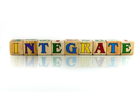 amalgamate: integrate colorful wooden word block on the white background