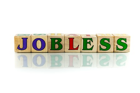 workless: jobless colorful wooden word block on the white background