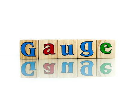 exemplar: gauge colorful wooden word block on the white background